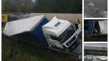 Unfall B28 zwischen Reutlingen und Metzingen: Verkehrsbehinderungen: Lkw umgestürzt - Bergungsarbeiten dauern an - SWP