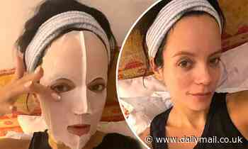 Lily Allen pampers herself with a face mask before revealing her fresh-faced complexion