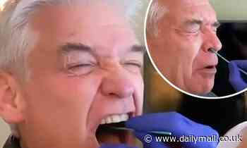Phillip Schofield winces as he gets a Covid-19 test ahead of filming How To Spend It Well