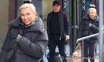 Billie Faiers is in high spirits as she leaves Dancing On Ice training with a friend