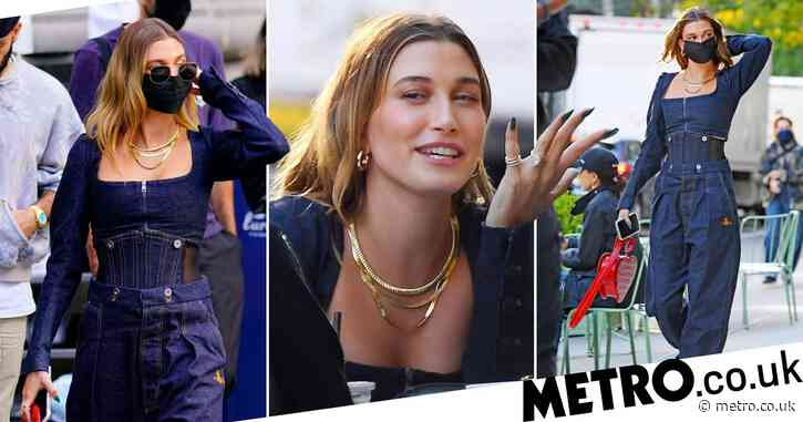 Hailey Baldwin serves up double denim glam as she has lunch with pals in New York