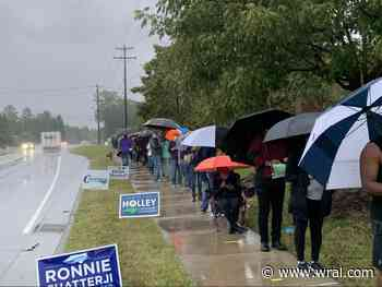 Voters wait in the rain for hours to cast their ballot