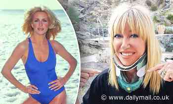 Seventies pinup Suzanne Somers of Three's Company wears a NECK BRACE