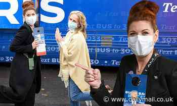 Debra Messing dons face mask as she campaigns for Joe Biden and Kamala Harris in Pennsylvania