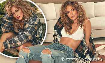 Jennifer Lopez flashes her abs in new fall-inspired shoe campaign