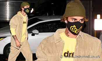 Justin Bieber seen arriving at his NYC apartment in tan corduroy after attending rehearsals for SNL