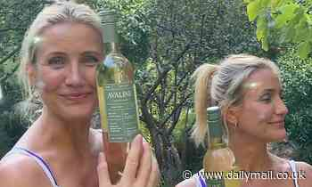 Cameron Diaz looks lovely and carefree as she picks grapes and drinks wine for her brand Avaline