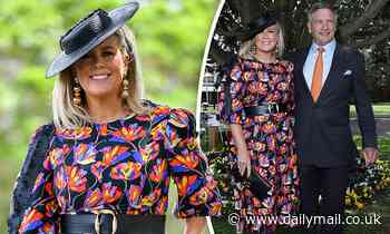 Sam Armytage in a flirty floral dress with fiancé Richard Lavender at Everest Cup Racing Carnival