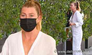 Ellen Pompeo dons a unique pair of all white coveralls for lunch after casting her ballot