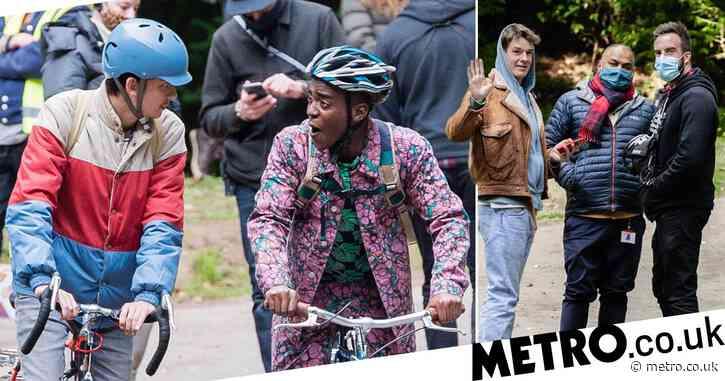 Sex Education season 3 films as Asa Butterfield rocks moustache on bike ride with Ncuti Gatwa in first look