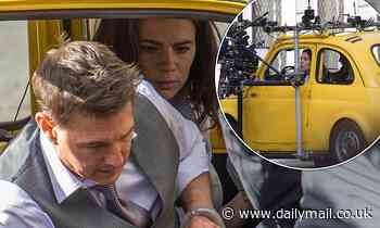 Tom Cruise takes to the road with Hayley Atwell in a yellow Fiat as they film Mission Impossible 7