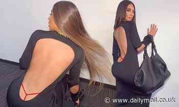 Kim Kardashian flashes red G string in a figure-hugging dress ahead of her 40th birthday