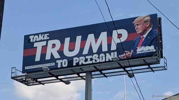 Houston billboard supporting president defaced