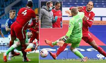 Virgil van Dijk injured by Jordon Pickford in Merseyside derby as fans call for red card