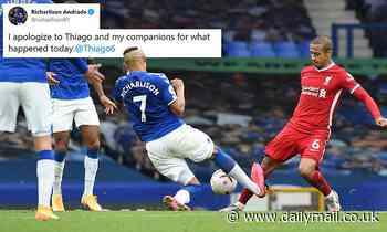 Richarlison apologises to Thiago and his Everton team-mates after seeing red in the Merseyside derby