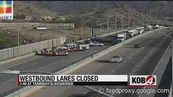 Fatal crash closes WB I-40 between Tramway and Juan Tabo
