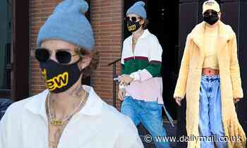 Justin Bieber heads out for his SNL appearance in NYC as his wife Hailey steps out in a yellow coat