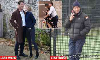 Actor Dominic West cuts a forlorn figure six days after he was pictured with Lily James