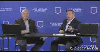 O'Toole and Kenney sit side-by-side for UCP general meeting livestream with no masks