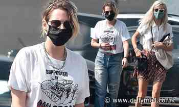 Kristen Stewart wears a midriff-baring tee as she goes grocery shopping with girlfriend Dylan Meyer