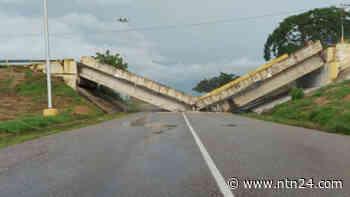 Impacto de gandola desplomó puente del distribuidor de Cantaura en Anzoátegui - NTN24