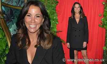 Loose Women's Andrea McLean in double-breasted blazer dress at Denise Van Outen's burlesque show