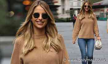 Vogue Williams dresses down in brown sweater and skinny jeans