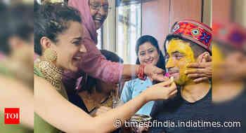 Kangana enjoys brother's wedding rituals