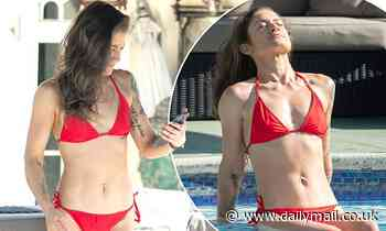 Katie Waissel shows off her incredible body transformation in tiny red bikini