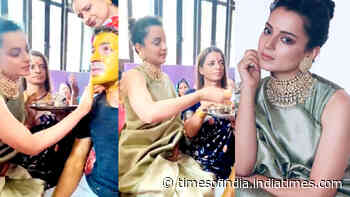 Kangana Ranaut looks beautiful in these pictures and videos from brother's wedding ceremonies at her grandparents' home