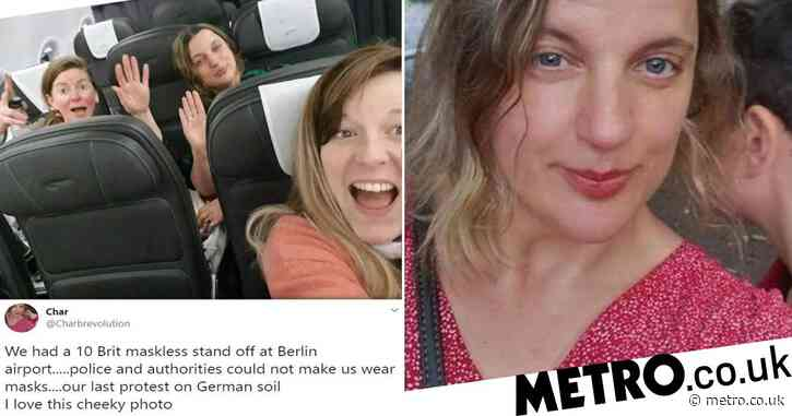 Brits 'who behaved like spoilt brats' celebrate as they board plane without masks