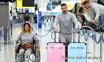 Katie Price and beau Carl Woods flaunt matching 'Woods' suitcases before jetting off to the Maldives