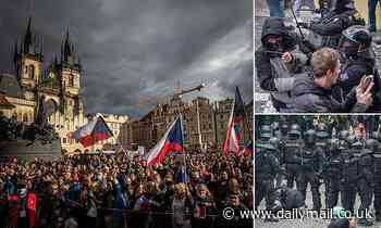 Protesters rally against government Covid restrictions in Prague