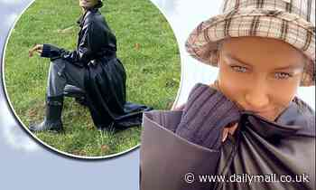 Brad Pitt's model girlfriend Nicole Poturalski, 27, looks chic
