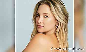 Kate Hudson shows off her toned physique as she poses topless in a pair of skintight navy leggings