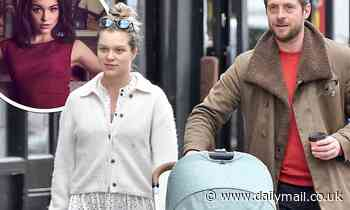 Keeler actress Sophie Cookson looks fresh-faced as she takes a stroll with her baby