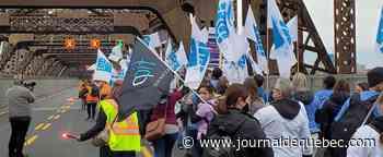 Une manifestation de la FIQ force la fermeture du pont de Québec