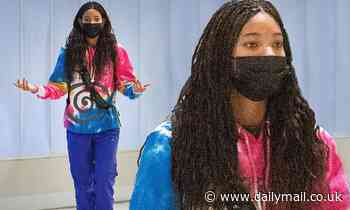 Willow Smith is seen in a tie-dye top with very long hair as she lands in NYC