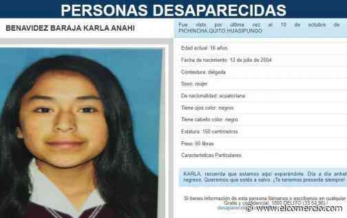 Familia busca desesperadamente a adolescente desaparecida en el noroccidente de Quito