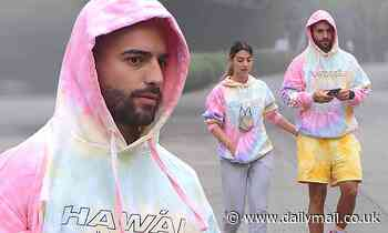 Maluma twins with galpal in tie dye hoodies after covering Billboard with Jennifer Lopez