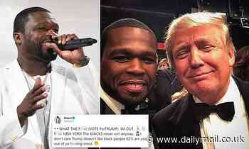 50 Cent doesn't 'care Trump doesn't like black people' as he endorses president over taxes