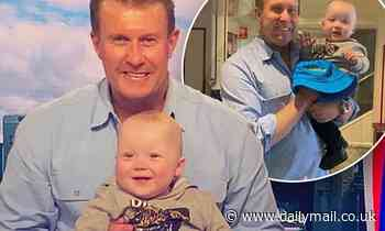 Nine News star Peter Overton meets his biggest fan - little Manson who was born with half a heart