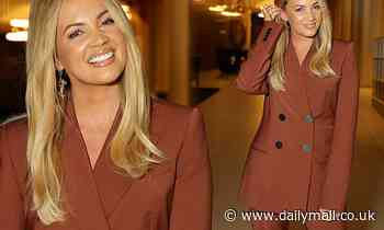 Samantha Jade attends Roxy Jacenko's In Conversation event in a stunning brown satin suit