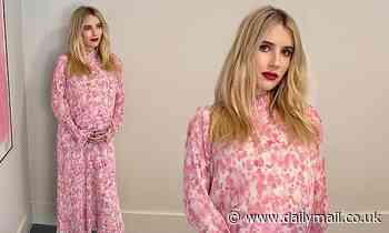 Emma Roberts cloaks her baby bump in floral print