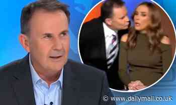 Tony Jones BEGS Channel Nine to stop showing footage of his awkward attempt to kiss Rebecca Judd