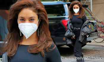 Vanessa Hudgens is dressed all in black as she heads to East Village set of Tick, Tock... Boom in NY