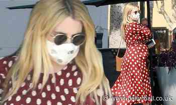 Emma Roberts is unmissable in a cute burgundy polka dot dress as she takes care of errands in LA