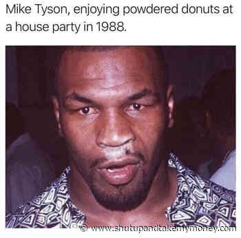 Mike Tyson Enjoying Powdered Donuts At A House Party In 1988 – Meme