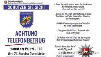 Polizei ruft zur Wachsamkeit auf: Warnung vor Anrufen von falschen Polizisten in Ganderkesee - Nordwest-Zeitung