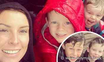 Coleen Rooney and her four sons brave the rain to head to Blackpool Pleasure Beach